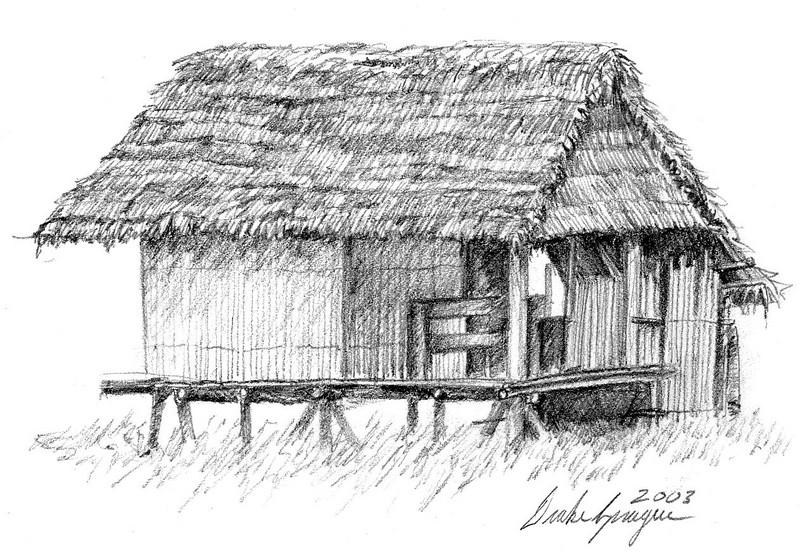 Detail of an Shawi Dwelling - Village of San Antonio, Loreto Department, Peru