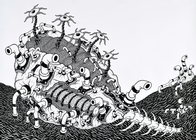 Untitled-BW08 (2008) 5x7 feet, sumi ink, acrylic on paper
