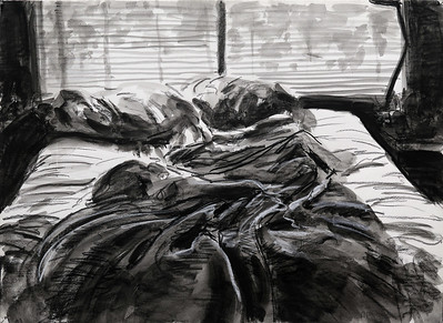 Unmade bed; charcoal and wash on unprimed paper; 22 x 30, 1987
