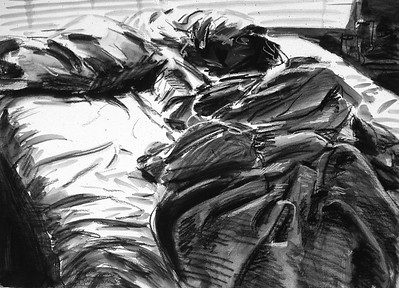 Unmade Bed; charcoal and wash on paper, 22 x 30 in, 1987