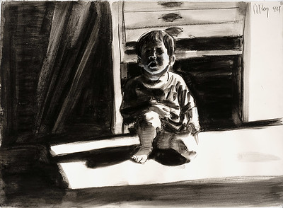 Crouching child; charcoal and wash on paper, 22 x 30 in, 1994