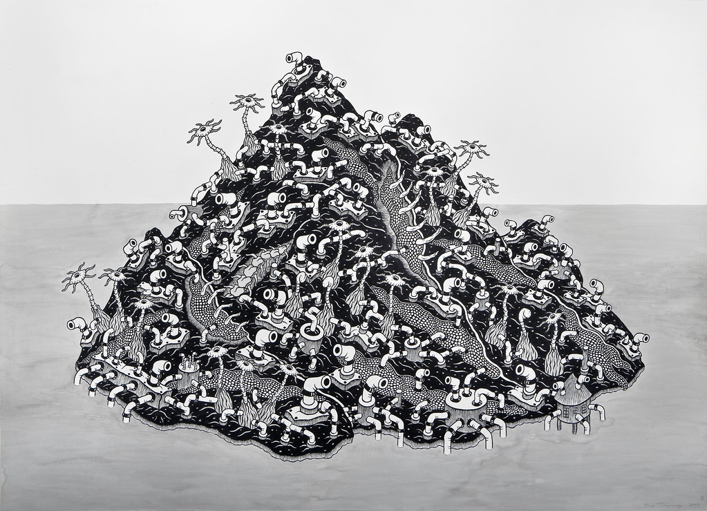 Untitled-BW11 (2009) 5x7 feet, sumi ink, acrylic on paper<br /> Collection of The Contemporary Museum Honolulu, Hawaii