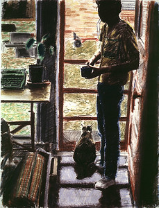 Household; pastel, 50 x 38 in, 1986