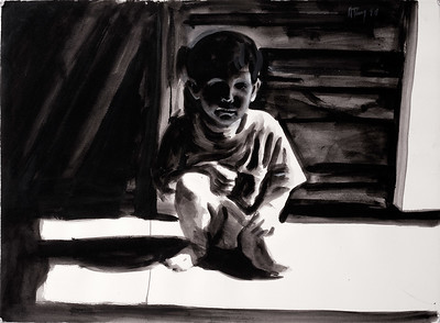 Crouching child, charcoal and wash on paper, 22 x 30 in, 1994