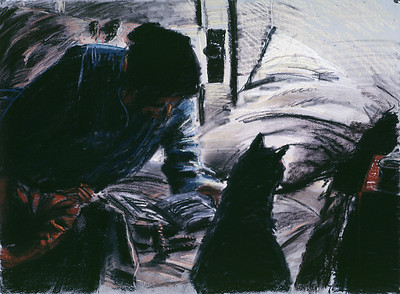 Reading woman with cat, pastel, 22 x 30, 1989