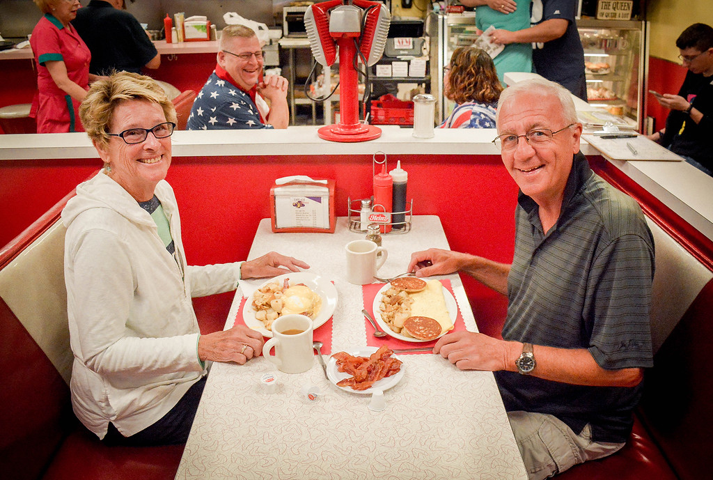 . At left, Joyce Jacques and her husband Steve of Westford were excited to go out to Dream Diner for breakfast and partake in the 20th Anniversary celebration. SUN/Caley McGuane