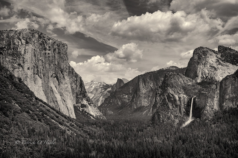 El Capitan, Half Dome and Bridal Veil Falls photographed from Tunnel View