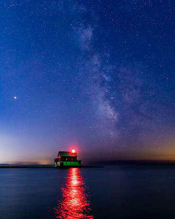 Grand Haven Fog House Beneath the Milky Way
