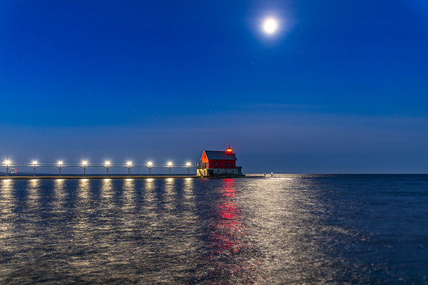Early Morning Fishing Under the Moon - Grand Haven