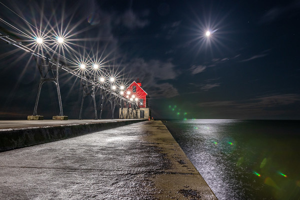 Moonburst Over Grand Haven