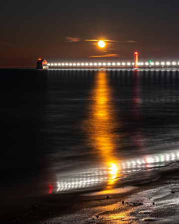 Moonset Over the Grand Haven Pier