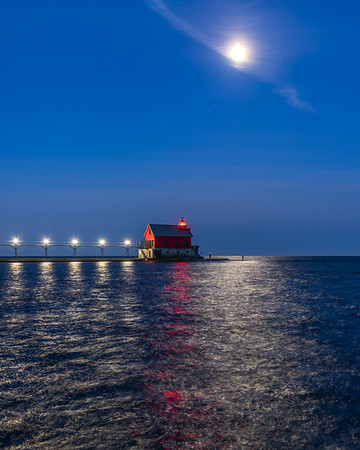 Early Morning Fishing Under the Moon - Grand Haven - II