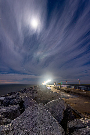 Grand Haven Pier Beneath the Moon and the Stars