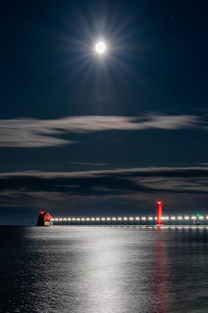 The Winter Moon Shines Over Grand Haven