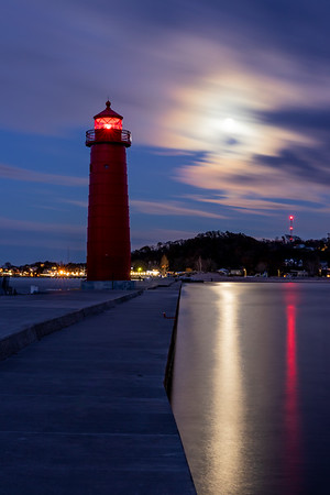 Moonrise Over the Grand Haven Lighthouse and Pier
