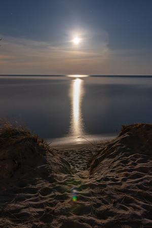 The Moon Sets on Lake Michigan