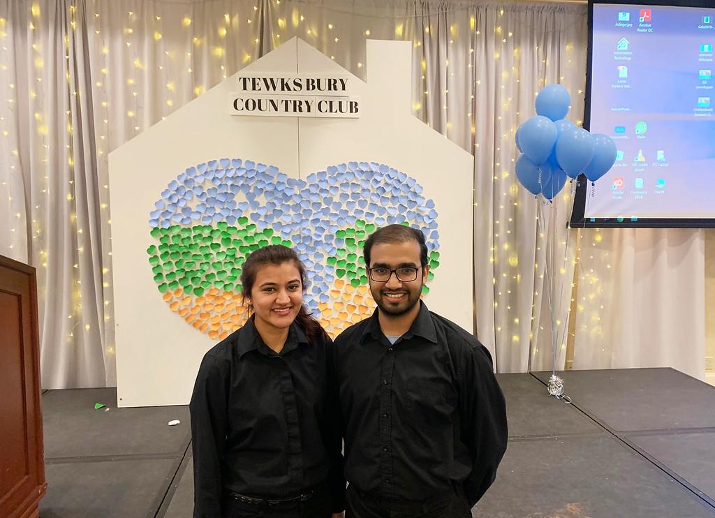 . Volunteers and UMass students Ramsha Faroog and Rohail Aijaz, both of Lowell