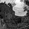 Approaching Kriebstein Castle, Saxony, on foot (b/w)