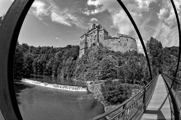 Burg Kriebstein, from the Zschopau River footbridge (b/w)
