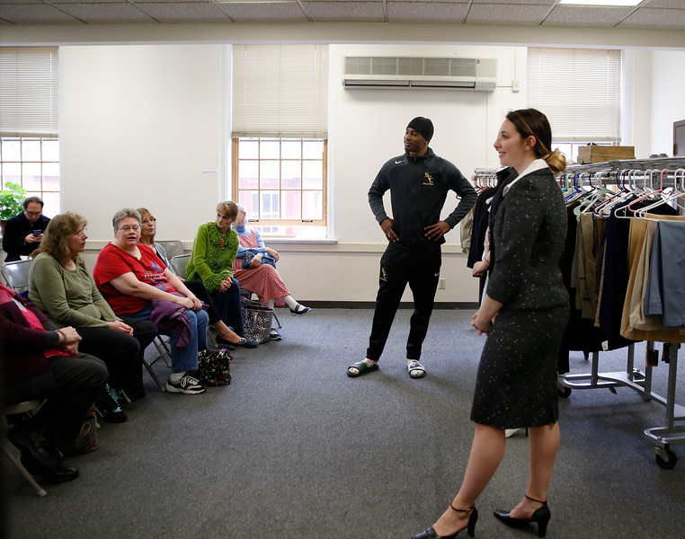 "HOLLY PELCZYNSKI - BENNINGTON BANNER Job seekers learn about how to dress for success on Friday at the Bennington Free Library during the ""dress for success"" event, held to teach job seekers what is interview appropriate and get them prepared when meeting with prospective employers"