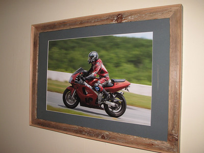 Not an image I would typically frame, however, this client was determined to frame her son riding in a unique and beautiful frame.  Not something you would find in any shop, one of a kind through and through and made to last a lifetime.