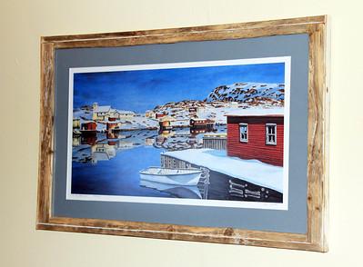 A print by a Newfoundland Artist with a custom frame to really make the image pop on any wall was soon to become the clients favorite conversation piece!
