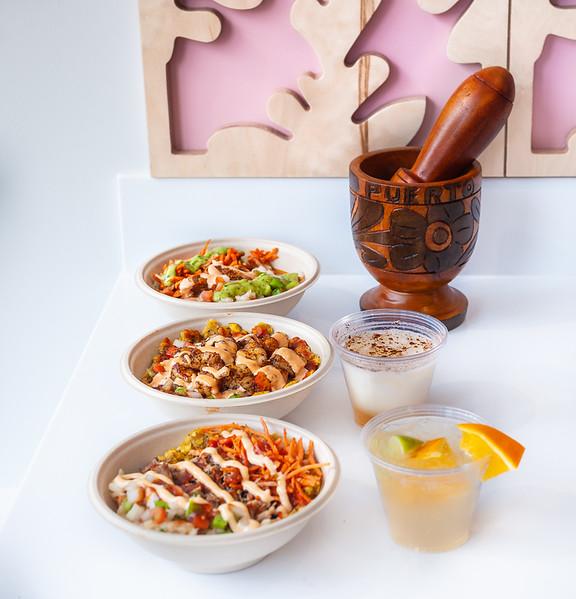 (From Bottom) Pork Bowl, Shrimp bowl, Chicken Bowl, (Middle Right) Mashroot Milkshake, Caipirinha
