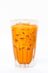 Thai ice tea milk in vintage glass