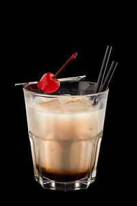 White russian cocktail on a black background