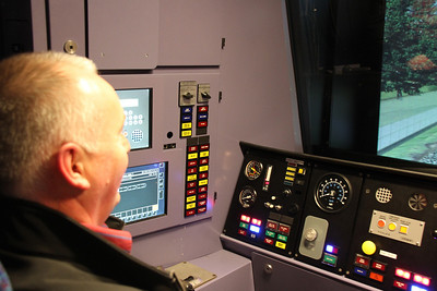 The webmeister at the helm of the CAF simulator.   Beats the h*** out of Train Simulator!