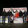 JACKSONVILLE, FLORIDAS EARL PEARSON JUNIOR CELEBRATES WITH HIS BOBBY LABONTE OWNED TEAM AFTER WINNING $10,000 IN THE 12TH ANNUAL INDIANA ICEBREAKER AT BROWNSTOWN SPEEDWAY.