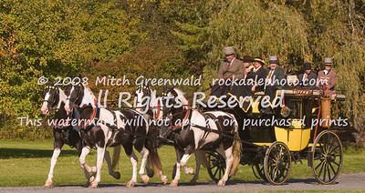 "The ""Outlaw"";  Private Road Coach manufactured by Brewster;  Phyllis Wyeth.  Team of Black and White horses, bred in Yorkshire, England, specifically for coaching.  CRW_6697"