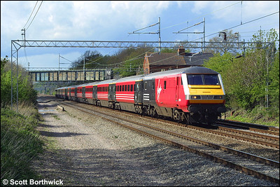 82114 propelled by 87035 heads a London Euston bound service at Cathiron on 01/05/2002.