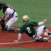 Lynn, Ma. 6-5-17. Tyler Way, 2, of Lynn Classical High, gets by catcher Joe Ferrucci of Marblehead to score at Fraser Field.
