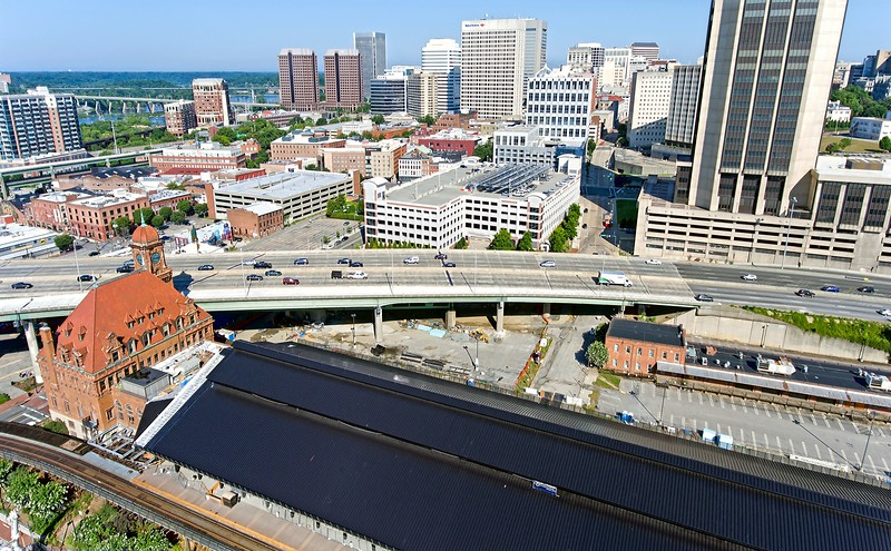 High above Historic Main Street Station