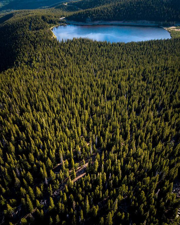 Spring aerial views over Mt. Evans Wilderness