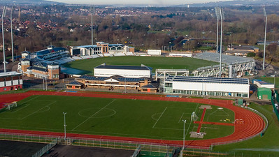 Aerial view of Emirates Riverside Cricket Ground, Chester le Street, England