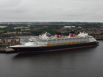 Aerial view of the cruise ship Disney Magic docked at Northumbria Quay, North Shields, England
