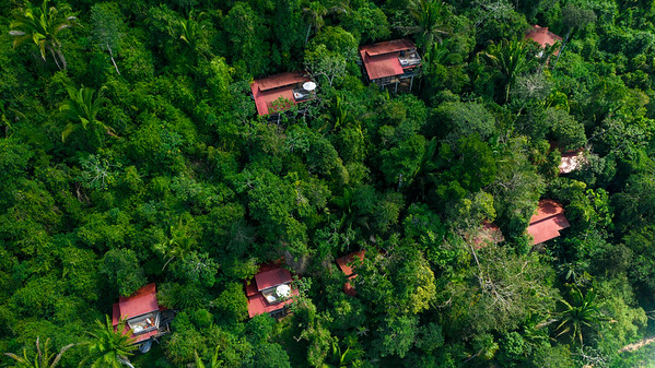 Aerial Drone view of Caves Branch Jungle Lodge, Belize