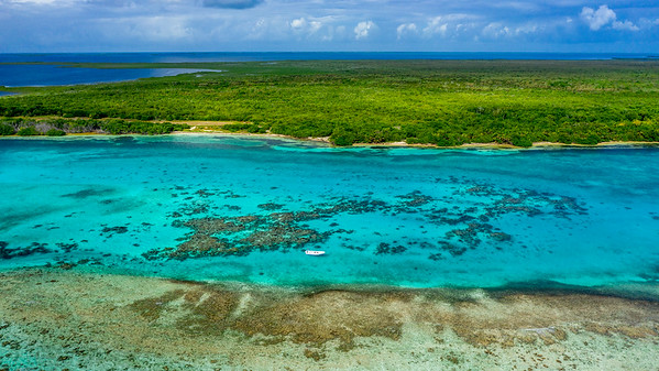 Aerial drone view of Blackbird Caye at Turneffe Atoll in Belize