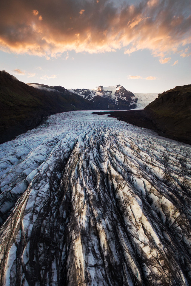 Sunset Over a Glacier in Iceland Aerial