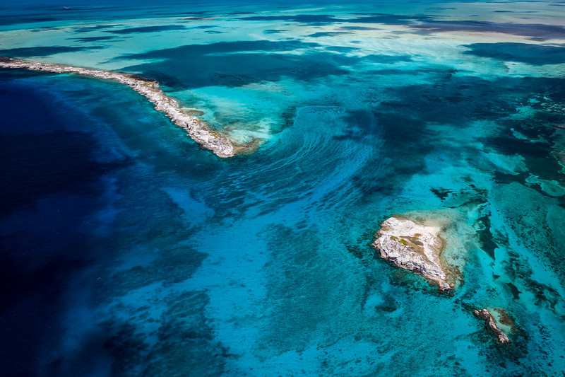 Aerial Drone view of the reef in South Caicos, Turks and Caicos Islands