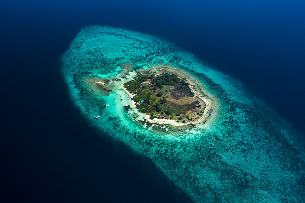 Aerial drone view of Moho Caye, Belize