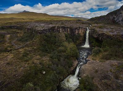 Double falls along the rio Pita