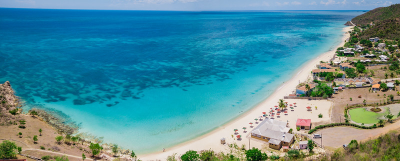 Aerial view of Turners Beach in Antigua