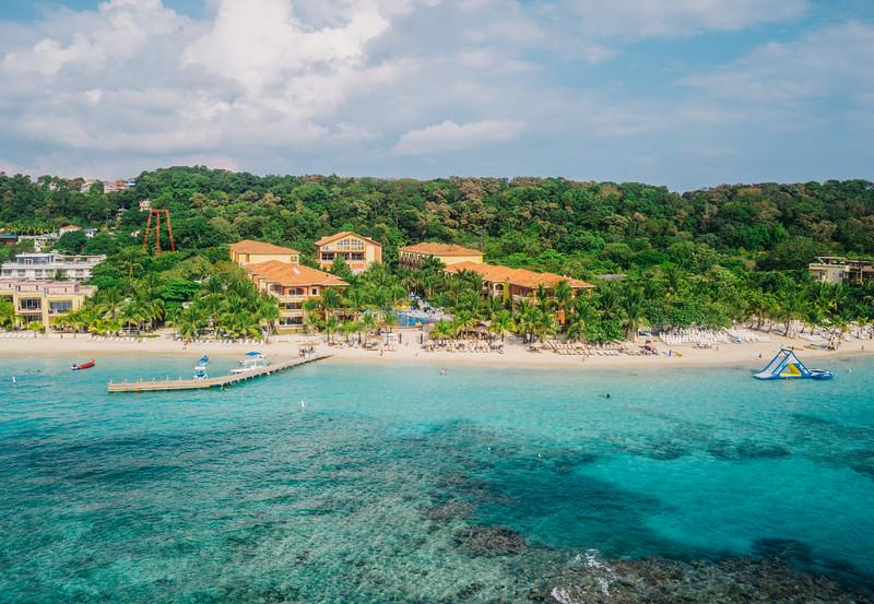 Aerial view of Infinity Bay Resort in Roatan, Honduras