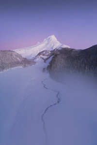 Drone Photo of a Winter Sunrise at White River on Mount Hood Oregon