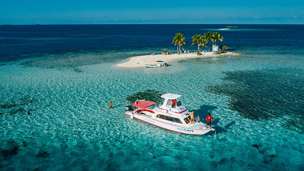 Aerial drone view of Silk Cayes in Belize