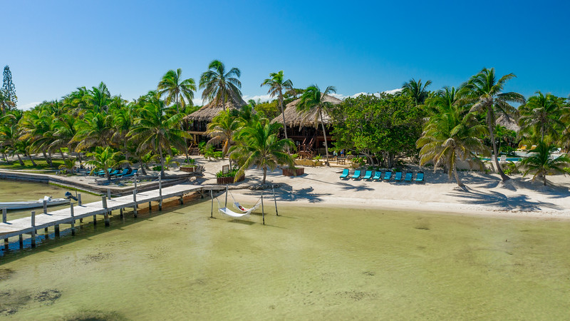 Aerial drone view of Portofino Resort in Belize