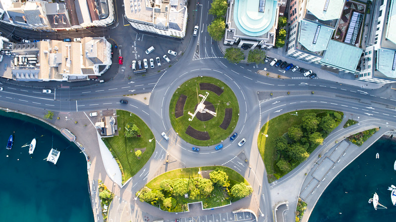 Main roundabout in St. Peter Port, Guernsey